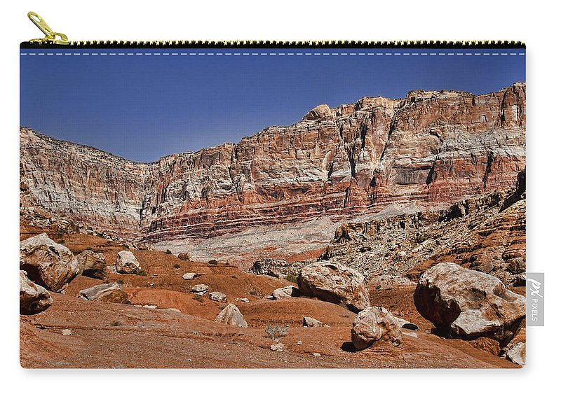 Landscape Carry-all Pouch featuring the photograph Layered Cliffs by Jon Berghoff