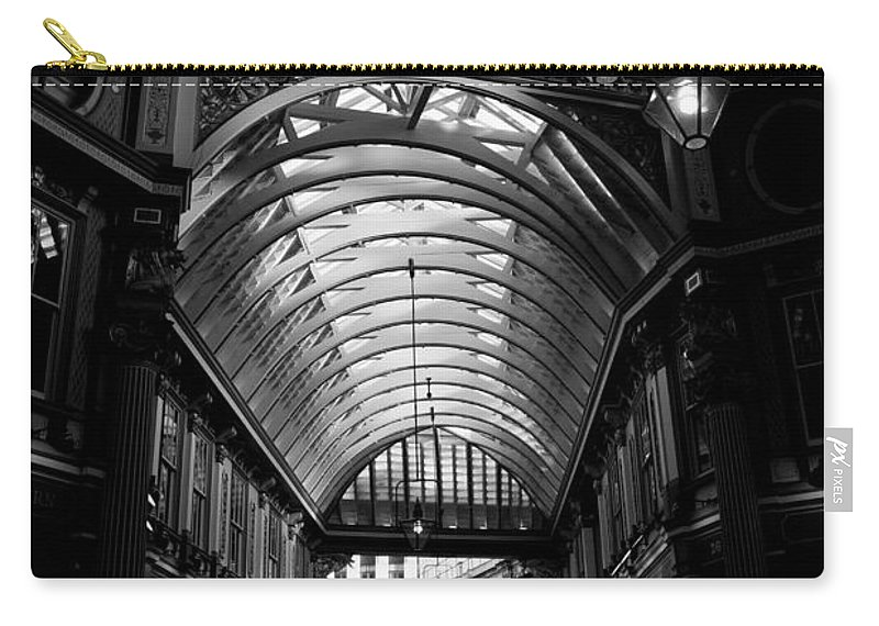 Leadenhall Carry-all Pouch featuring the photograph Leadenhall Market Black And White by David Pyatt