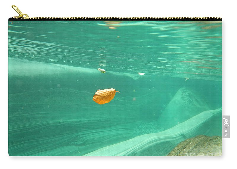 Leaf Carry-all Pouch featuring the photograph Leaf Floating Under The Water by Mats Silvan