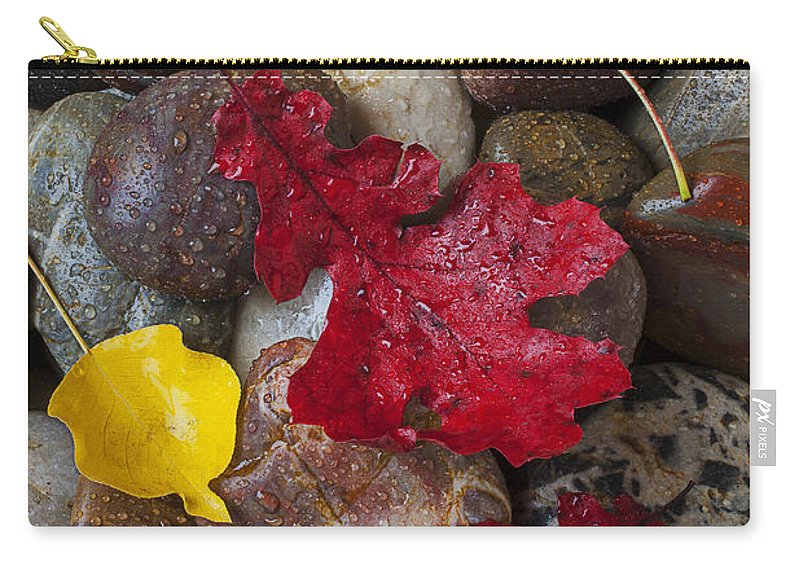 Red Carry-all Pouch featuring the photograph Leafs And Stones by Garry Gay