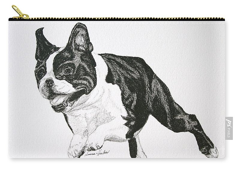 Boston Terrier Carry-all Pouch featuring the drawing Leap by Susan Herber