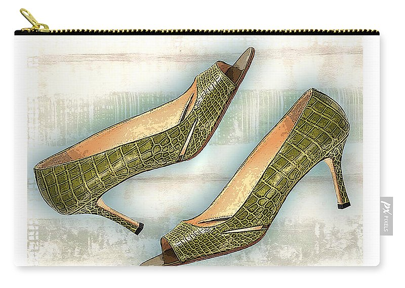 Shoes Heels Pumps Fashion Designer Feet Foot Shoe Stilettos Painting Paintings Illustration Illustrations Sketch Sketches Drawing Drawings Pump Stiletto Fetish Designer Fashion Boot Boots Footwear Sandal Sandals High+heels High+heel Women's+shoes Graphic Sophisticated Elegant Modern Carry-all Pouch featuring the painting Leapin Green Lizards Pumps by Elaine Plesser