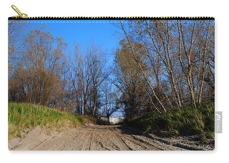 Carry-all Pouch featuring the photograph Leaving The Beach Vert by Michael Frank Jr