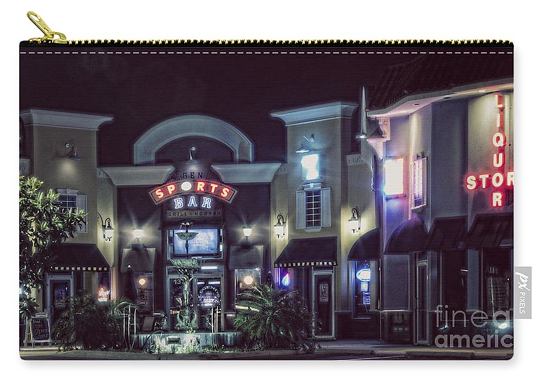 Night Carry-all Pouch featuring the photograph Legends Sport Bar by Janie Johnson