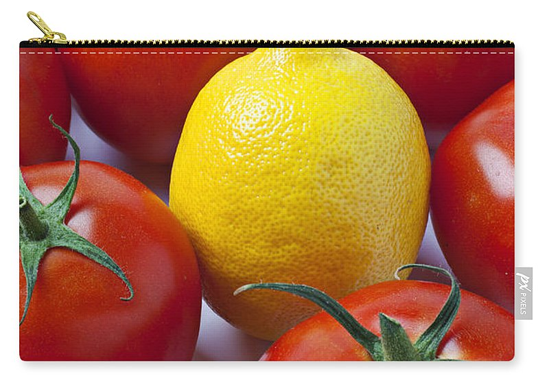 Lemon Carry-all Pouch featuring the photograph Lemon And Tomatoes by Garry Gay