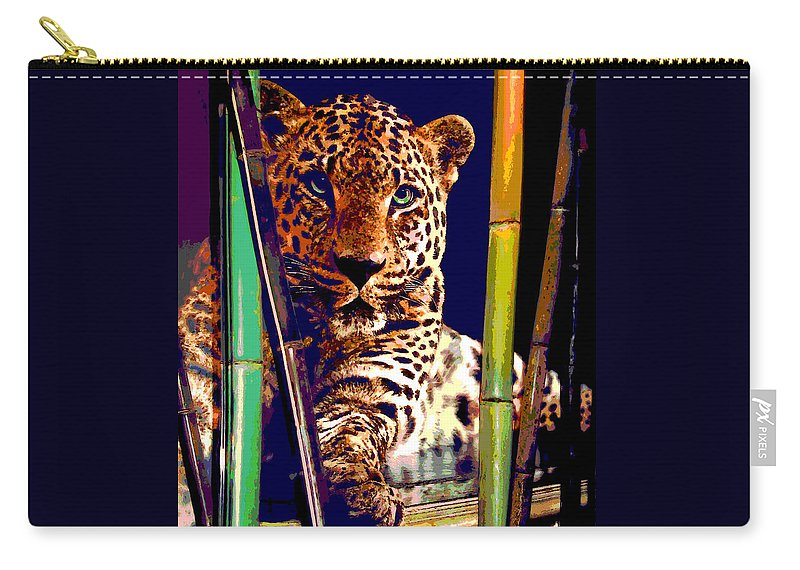 Cats Carry-all Pouch featuring the digital art Leopard by Gabriele Ervin