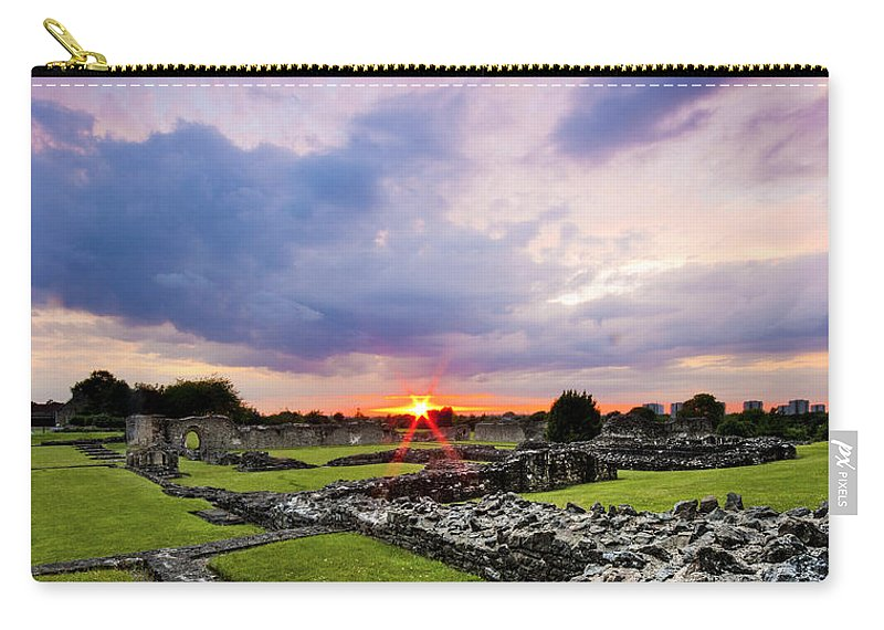 Lesnes Abbey Ruins Carry-all Pouch featuring the photograph Lesnes Abbey Ruins Sunset by Dawn OConnor
