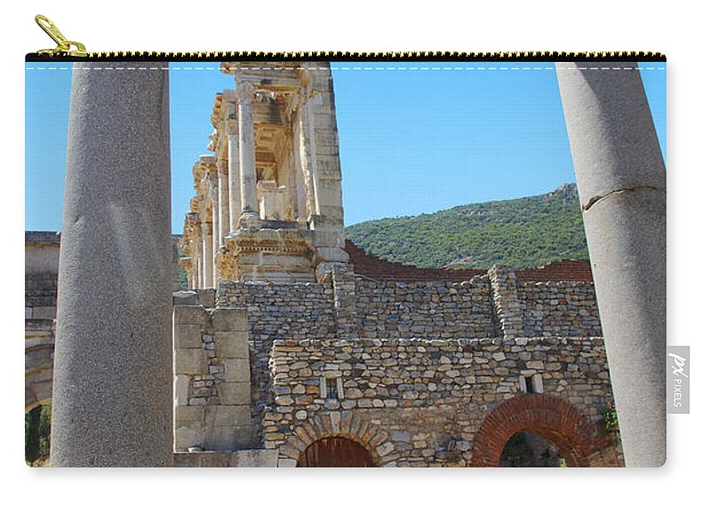 Turkey Carry-all Pouch featuring the photograph Library Of Celsus And Columns by Rich Walter