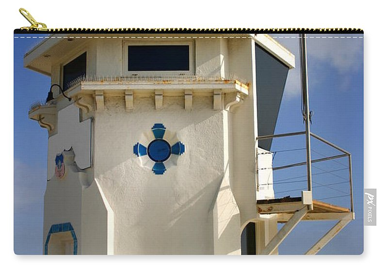 Coast Carry-all Pouch featuring the photograph Lifeguard Tower by Henrik Lehnerer