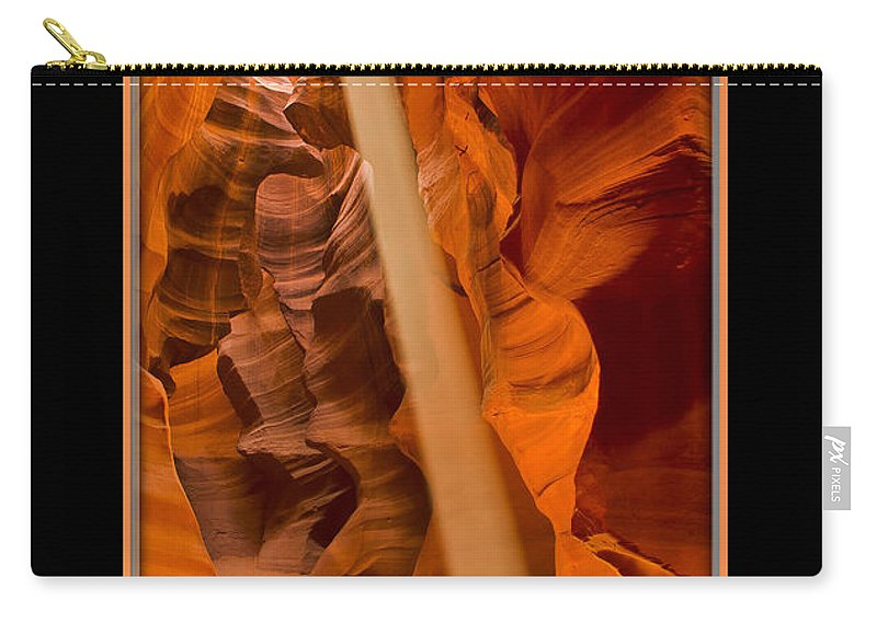 Antelope Canyon Carry-all Pouch featuring the photograph Light Beam With Border by Larry White