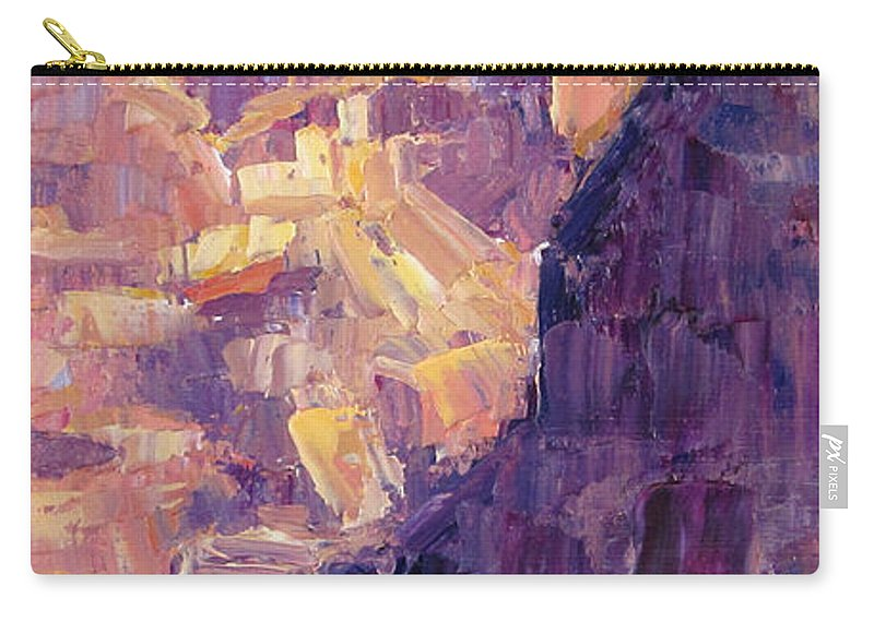 Grand Canyon Carry-all Pouch featuring the painting Light In The Canyon by Terry Chacon
