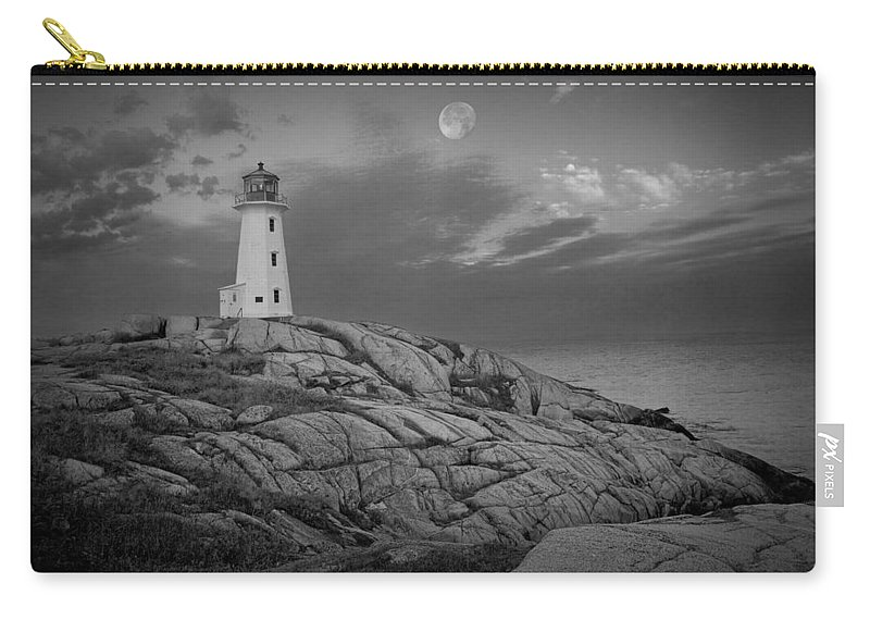 Art Carry-all Pouch featuring the photograph Lighthouse In The Moonlight At Peggy's Cove Nova Scotia Canada by Randall Nyhof
