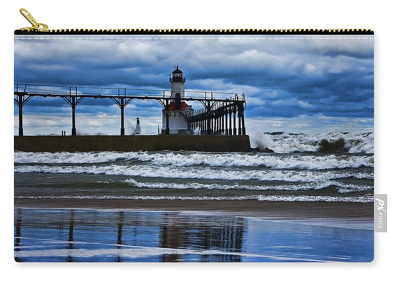 Lighthouse Carry-all Pouch featuring the photograph Lighthouse Reflections by Scott Wood