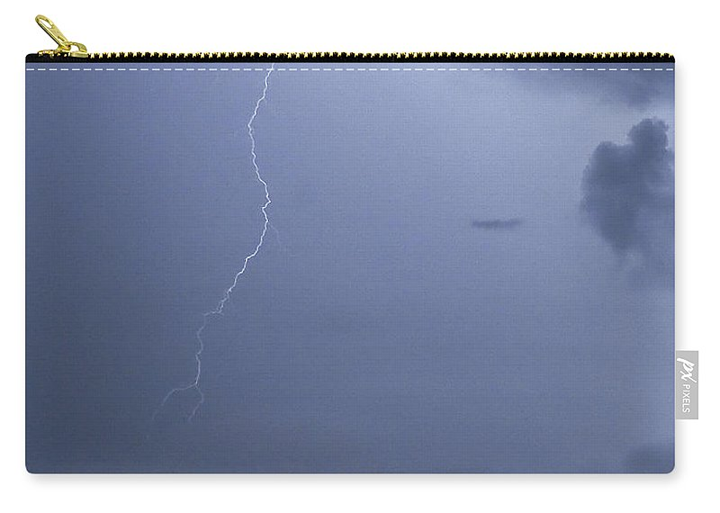 Lightning Carry-all Pouch featuring the photograph Lighting Over Caladesi Island by Stephen Whalen
