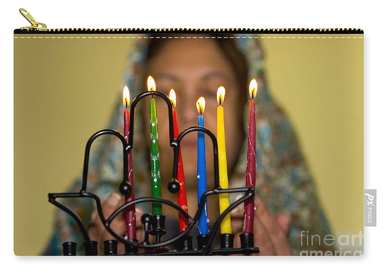 Hanuka Carry-all Pouch featuring the photograph Lighting The Chanukia by Yossi Aptekar