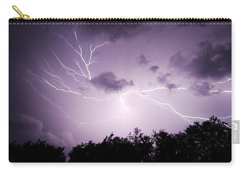Lightning Carry-all Pouch featuring the photograph Lightning Burst by Beth Gates-Sully