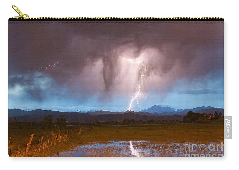 'boulder County' Carry-all Pouch featuring the photograph Lightning Striking Longs Peak Foothills 3 by James BO Insogna