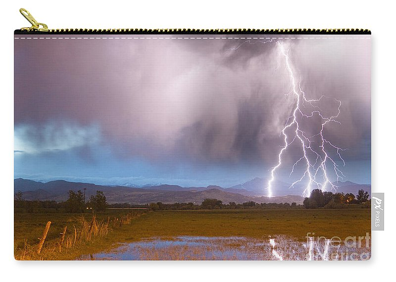 Lightning Carry-all Pouch featuring the photograph Lightning Striking Longs Peak Foothills 6 by James BO Insogna