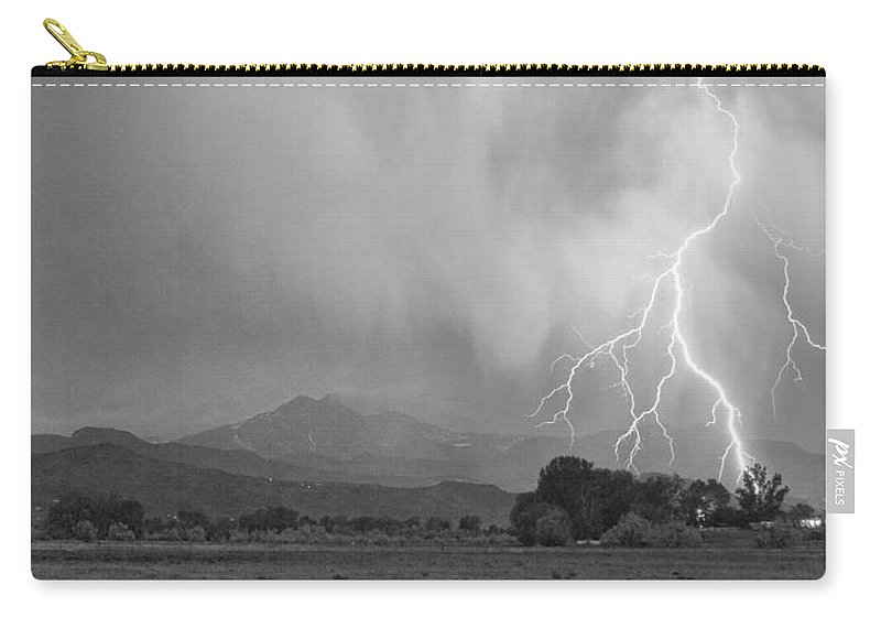Lightning Carry-all Pouch featuring the photograph Lightning Striking Longs Peak Foothills 7cbw by James BO Insogna