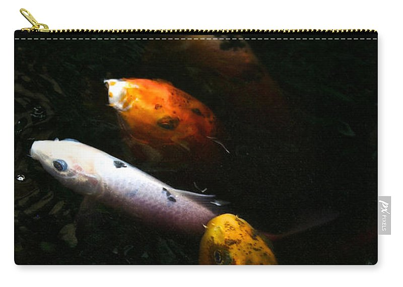 Koi Carry-all Pouch featuring the photograph Line Dancing Koi by Susan Herber