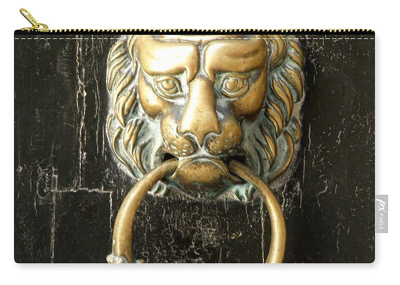Door Carry-all Pouch featuring the photograph Lion Door Knocker by Lainie Wrightson