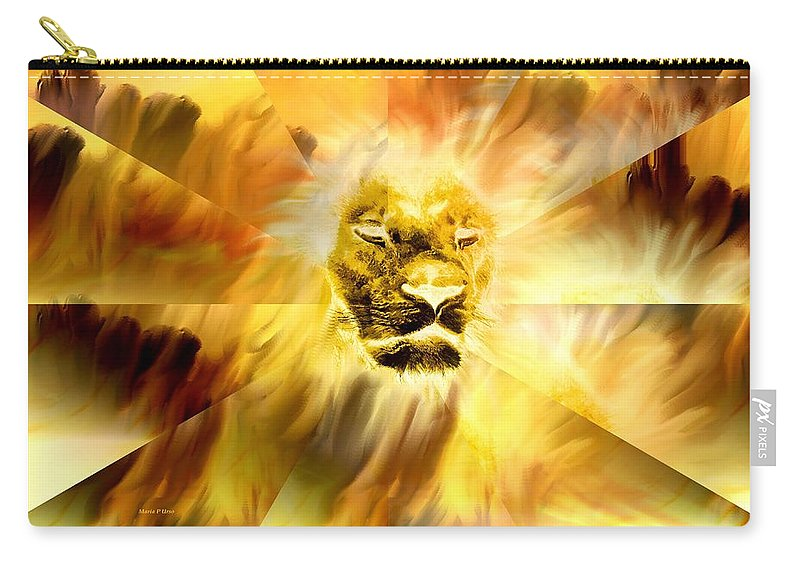 Lion Carry-all Pouch featuring the digital art Lion Of Judah by Maria Urso