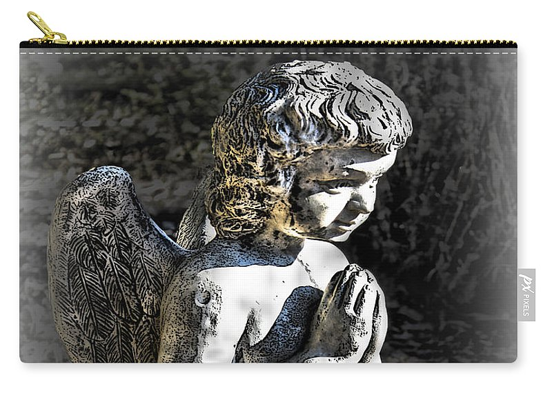 Cultural Artifacts Carry-all Pouch featuring the photograph Little Angel Statue by Danuta Bennett