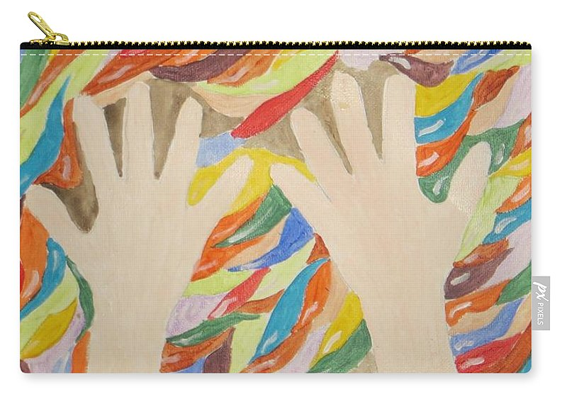 Little Cute Hands Carry-all Pouch featuring the painting Little Creative Hands by Sonali Gangane