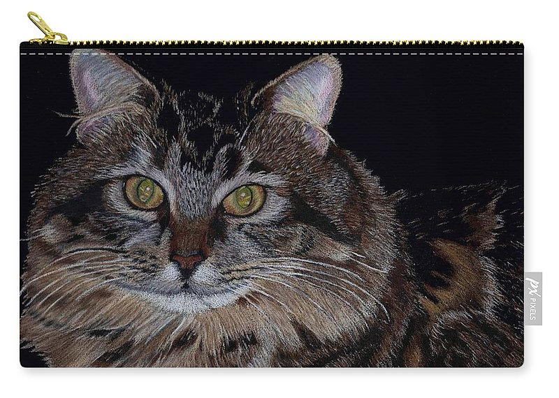 Cat Carry-all Pouch featuring the painting Little Girl - Maine Coon Cat Painting by Patricia Barmatz