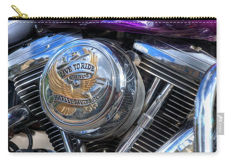 Harley Davidson Carry-all Pouch featuring the photograph Live To Ride by Steve Purnell