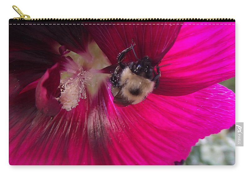 Bee Carry-all Pouch featuring the photograph Loaded Bee by Bonfire Photography