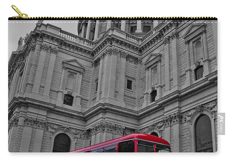 Bus Carry-all Pouch featuring the photograph London Bus At St. Paul's by Dawn OConnor