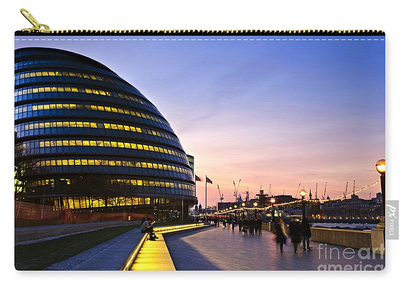 London Carry-all Pouch featuring the photograph London City Hall At Night by Elena Elisseeva