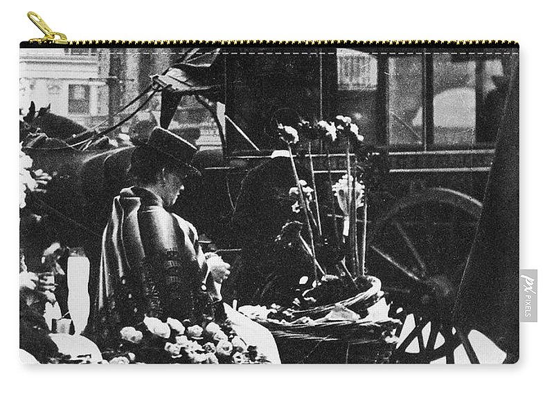 1900 Carry-all Pouch featuring the photograph London: Flower Girl, C1900 by Granger