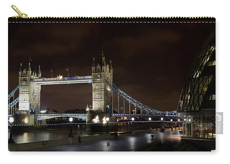 Tower Bridge Carry-all Pouch featuring the photograph London Southbank View by David Pyatt