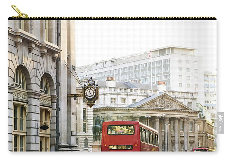 London Carry-all Pouch featuring the photograph London Street With View Of Royal Exchange Building by Elena Elisseeva