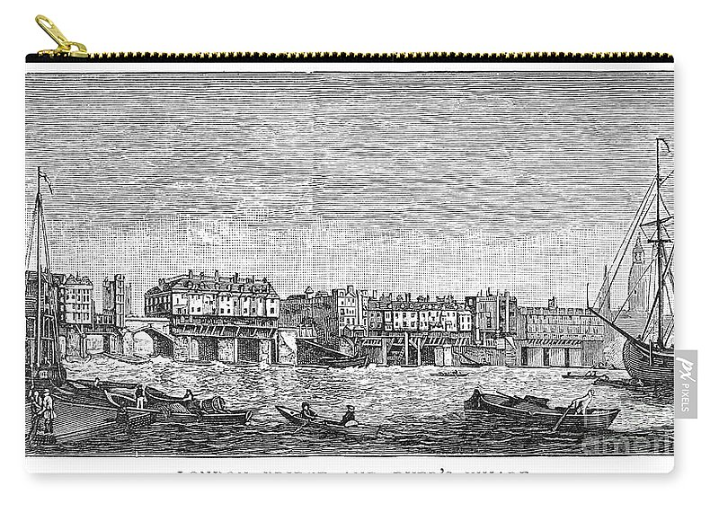1750 Carry-all Pouch featuring the photograph London: Waterfront, 1750. /nlondon Bridge And Dyers Wharf. Wood Engraving After A Painting By S. Scott, C1750 by Granger