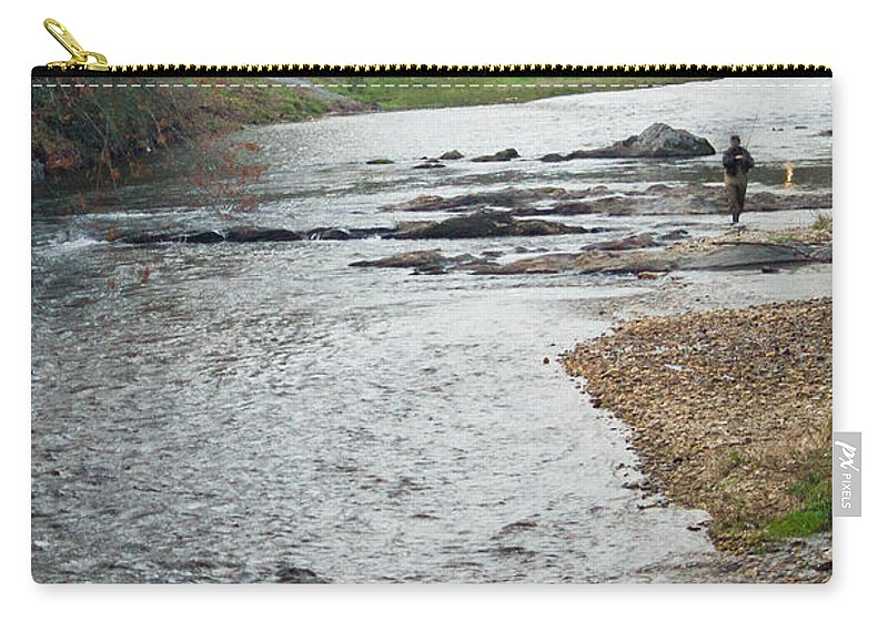 Fisherman Carry-all Pouch featuring the photograph Lone Fisherman 1 by Douglas Barnett