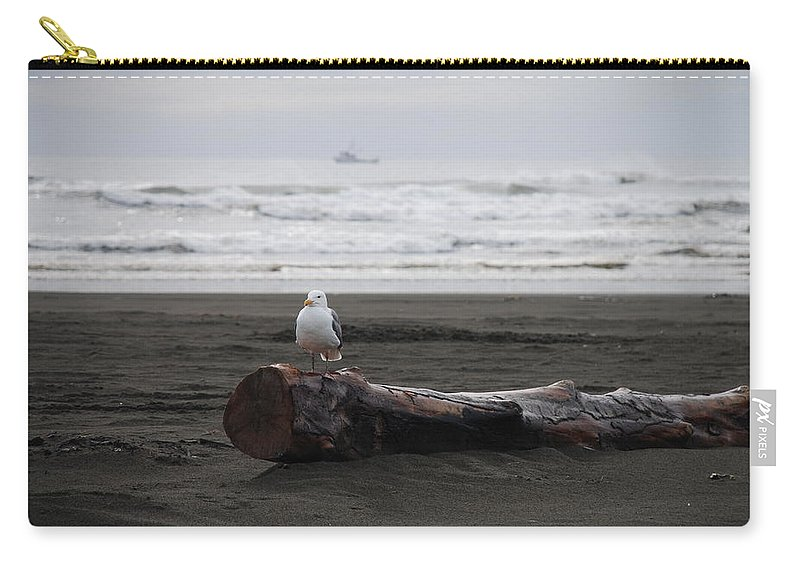 Gull Carry-all Pouch featuring the photograph Lone Gull by Michael Merry