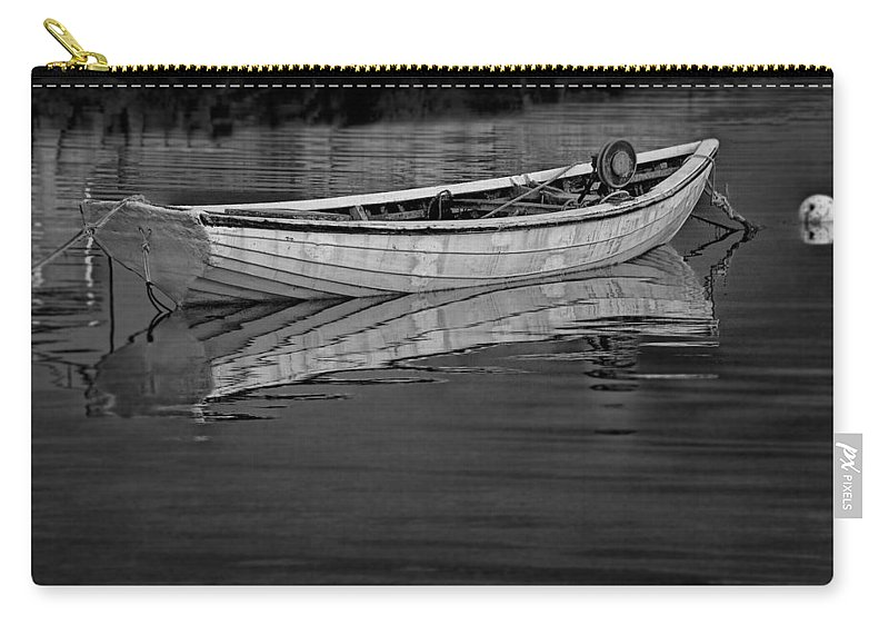 Art Carry-all Pouch featuring the photograph Lone White Boat In Nova Scotia by Randall Nyhof
