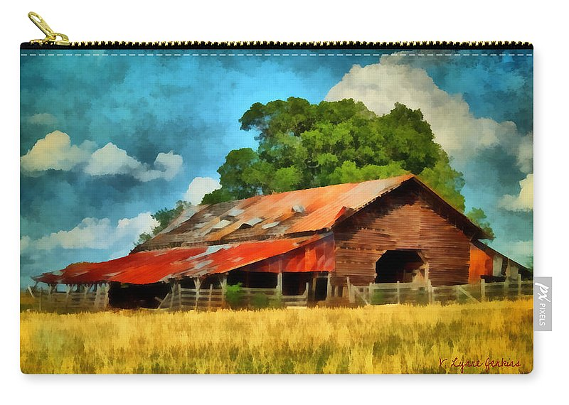 Barn Carry-all Pouch featuring the painting Long Road Barn by Lynne Jenkins