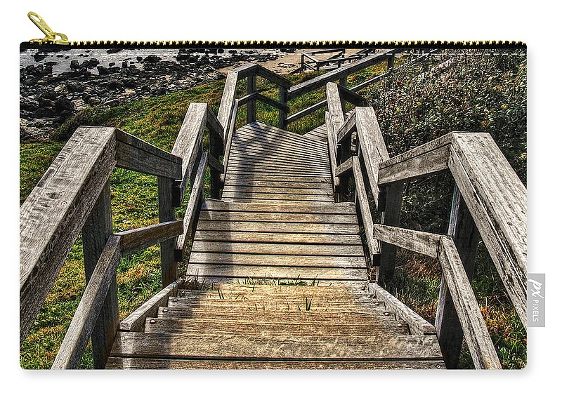 Photography Carry-all Pouch featuring the photograph Long Stairway To Beach by Kaye Menner