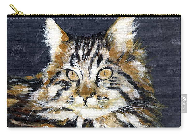 Tabby Carry-all Pouch featuring the painting Looking At Me? by Stan Kwong