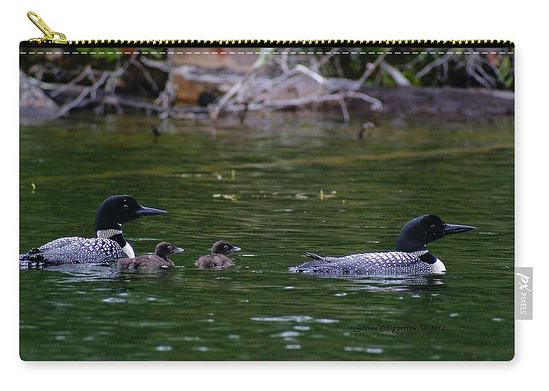 Loons Carry-all Pouch featuring the photograph Loons With Twins by Steven Clipperton