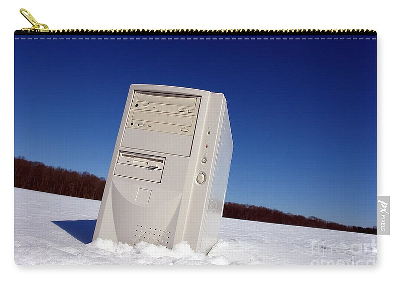 Alone Carry-all Pouch featuring the photograph Lost Computer In Snow by Olivier Le Queinec