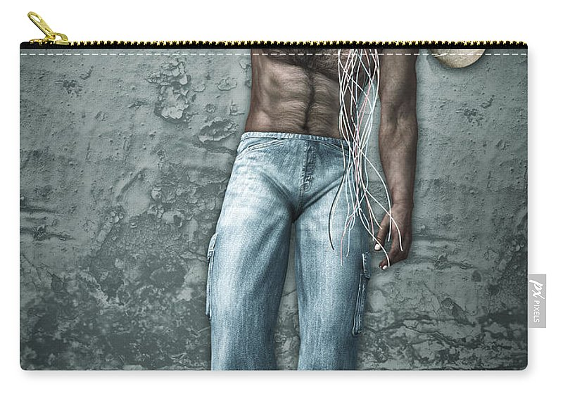 3d Carry-all Pouch featuring the digital art Lost His Mind by Jutta Maria Pusl