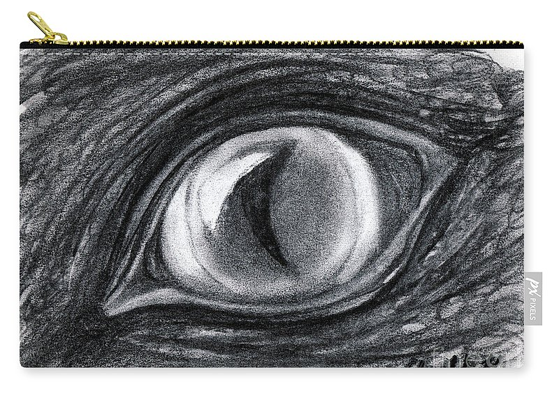 Charcoal Carry-all Pouch featuring the drawing Lost In The Eye Of Your Past by Elizabeth Harshman