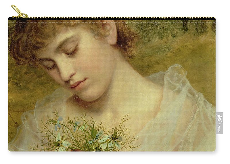 Love In A Mist Carry-all Pouch featuring the painting Love In A Mist by Sophie Anderson