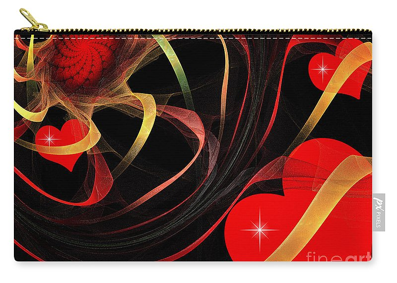 Fractal Carry-all Pouch featuring the digital art Love Is A Gift From The Heart by Andee Design
