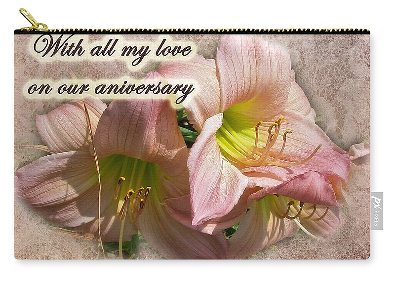 Anniversary Carry-all Pouch featuring the photograph Love On Anniversary - Lilies And Lace by Mother Nature